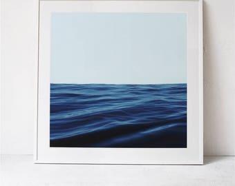 Ocean Print, Nautical Art Print, Sea Print, Blue Sea Wall Art Printable Art, Horizon Print, Square Print Nautical Print Photography Download