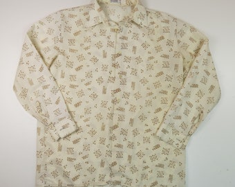 D'Avila Vintage Men's XL 70s Synthetic Button Down Casual Shirt Squiggle Pattern