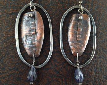 Battle Shield Fold Formed Copper Sterling Silver Iolite Earrings Handmade Sterling Silver Fold Formed Earrings OOAK Recycled Silver Earrings