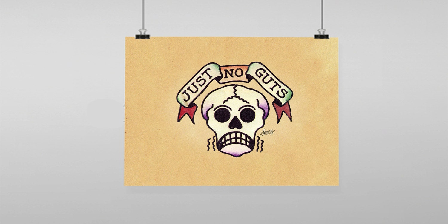 Just No Guts Tattoo Sailor Jerry Vintage Reproduction Wall