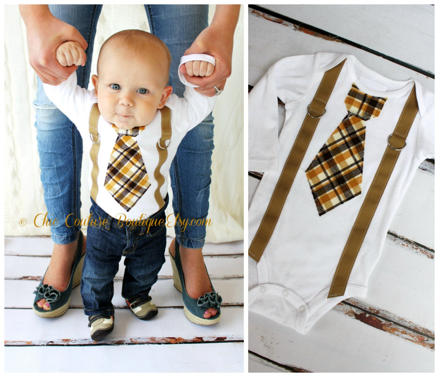Easter spring plaid baby boy tie and suspenders bodysuit zoom negle Choice Image