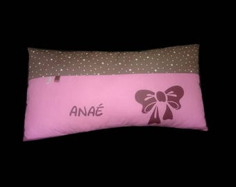Personalized name bow pillow