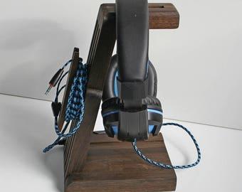 Headset stand,Kopfhörer Halter Kopfhörerständer SP6,headphone holder,Headphone hanger,Wooden stand,Headphone