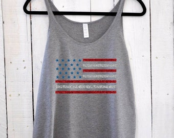 Glitter American Flag, slouchy tank top