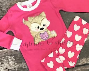 Valentine Pajamas | Valentine's Day Pajamas | Heart PJs | Spring PJs | Cute pajamas for Kids | Gifts for kids | Custom Pajamas