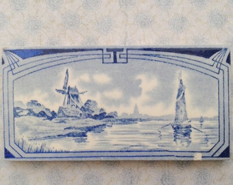 Tile, with mill and boat, Art Deco, Made in Holland