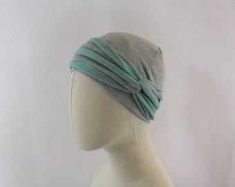 Heather grey and aqua chemo cap, chemo hat with headband, chemo headwear, headwrap, unlined, size small/medium