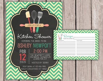 PRINTABLE- Kitchen Bridal Shower Invite and Recipe Card- Kitchen Bridal Shower Invite- Bridal Shower Invite- 5x7 JPG