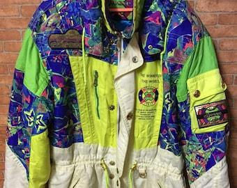 Vintage Ellesse Ski Winter Neon Full Colour Hoodie Rare Italy Jacket Colour Block
