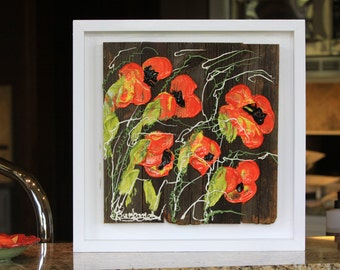 Rugged Poppies, 16x16, White Frame, Abstract Floral Impasto Painting, handmade, home decor, colorful, Item# 305