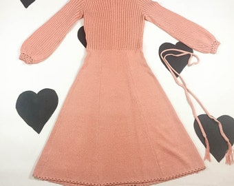 1970's neon coral sweater dress 70's flared sheer psychedelic billow angel sleeve knit dress / mod dolly groupie sherbet dress / size M