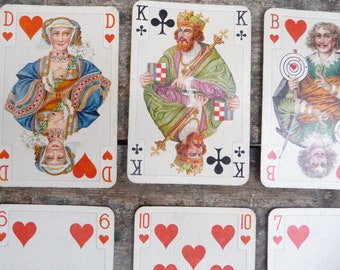 Vintage Playing Cards, Set 14 Cards, Ephemera, German Playing Cards, Game Cards, Card Set 1940s, Gift Tags