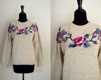 Vintage 1980's Eddie Bauer Floral Fair Isle Sweater / 80's Ragg Wool Sweater