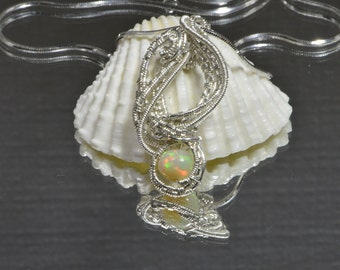 Opal Pendant Wire wrap jewelry Wire Wrapping Silver Pendant with Ethiopian Opal Necklace, Birthstone Jewelry