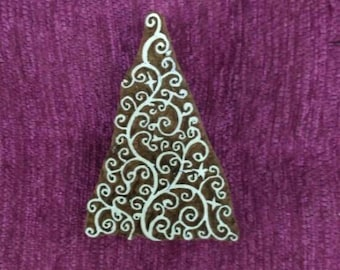 indian carved wood stamp, wood printing block, textile stamp, tjaps - Christmas tree with handle