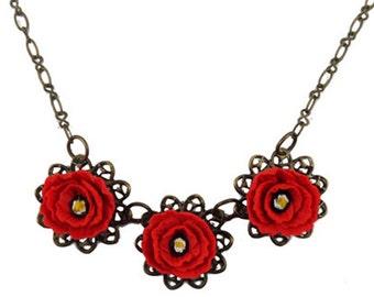 Three Red Poppy Necklace - Poppy Filigree Necklace Silver or Antique Brass, Trio Poppy Jewelry