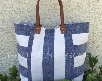 Canvas Nautical Stripe  Navy or Black Tote Bag