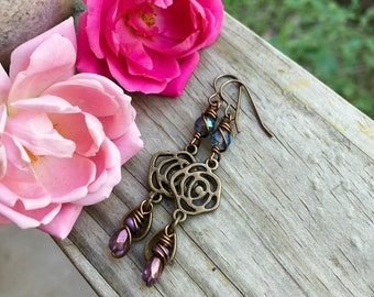 Rose Earrings | Floral Earrings with Glass Beads