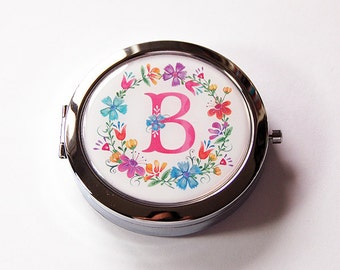 Monogram pill case with mirror, Pill box with mirror, pill box, Floral, Gift for her, Bridesmaid gift, wedding party gift (5697)