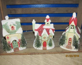 3 Piece Set Christmas Houses Lights Red Green with Bottle Brush Trees - Church with Bell- Cottage House - Snow Covered