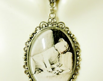 Sweet sleeping pit bull by Cecil Aldin pendant with chain - DAP09-639