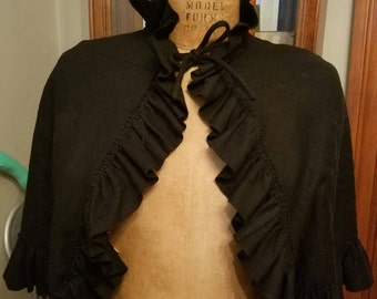 Vintage Doro Exclusively for Bonwit Teller Black Wool Cape or Caplet Ruffle 1960s As Is Tie Closure