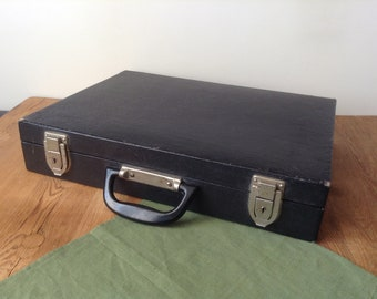 Vintage Small Wooden Suitcase Covered Black Faux Leather, Old Hard Shell Slim Briefcase Attache, Heavy Duty Distressed Valise, Storage Boх