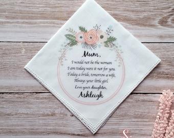 1 x Mother of the Bride Printed Wedding Handkerchief.  Wedding Keepsake, includes free gift envelope