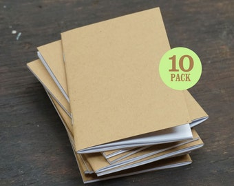 Kraft Notebooks, Bulk Notebooks, 3.5 x 5.5 Inches, Notebooks, Blank Pages, Sketchbook, Pocket Sized Notebooks, Small Journal. Set of 10.