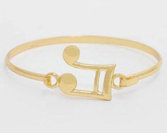 Musical Double Bar Note Gold Bangle Bracelet, Gold-Tone Bangle Bracelet, Thank You Gift, Birthday Gift, Graduations Gift
