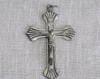 Vintage Cross Pendant, Crucifix, Necklace Charm, Silver Tone, Religious Jewelry, Accessories, Supplies, Church,Icon, Religion, Spiritual
