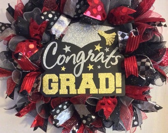 Graduation Wreath-Class of 2018 Wreath-Graduation Deco Mesh Wreath