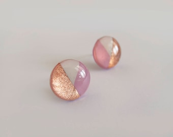 Fuchsia and White with Copper Round Stud Earrings - Hypoallergenic Titanium Posts