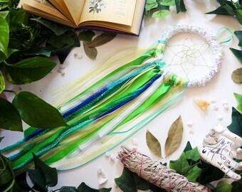 Green and White Dreamcatcher - Med // Dream Spell