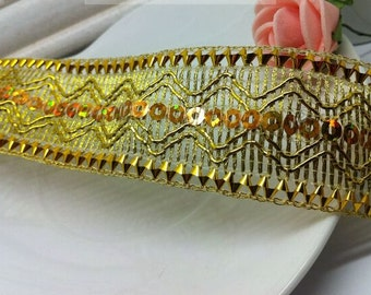 """10 yard 3cm 1.18"""" wide gold tapes braided lace trim ribbon afe25 free ship"""