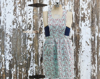 Vintage Full Apron - Mint Green and Rust Antique Feed Sack Fabric