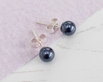 Navy Blue Stud Earrings, Navy Bridesmaid Earrings, Navy Earrings, Blue Pearl Studs, Navy Wedding, Navy Wedding Accessories, Blue Studs, Gift