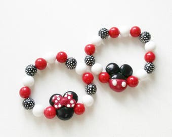 Mickey or Minnie mouse inspired stretchy bracelets