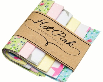 """50 x 'Summertime' Patchwork Squares. Beautiful Fabric Charm Pack 4"""" or 5"""""""