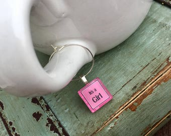 Glass Baby Shower Party Favor Tags for Coffee Mugs, Tea Cups or Champagne Glass - Pink Baby Girl Party Favors for Baby Shower or Sprinkle
