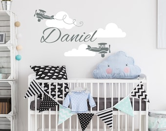 Personalized Boy Name Wall Decal Airplane Boys Name Decals Nursery Decor Plane Wall Decal Name Decal Boys Room Decor Biplane Sticker kp1