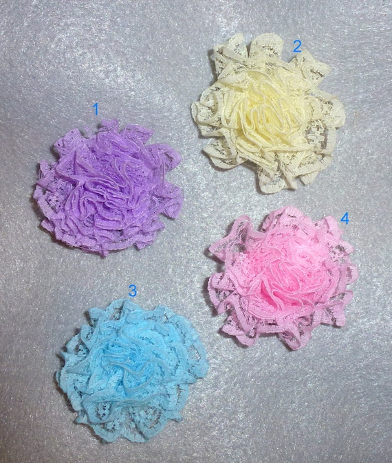 Puppy Bows ~ Shabby chic LACE flower 4 assorted colors  pet hair bow barrettes or bands (fb105)