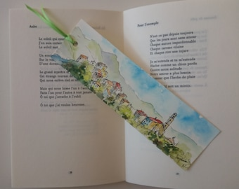 bookmark in watercolor, original painting,french village in corsica,houses
