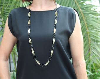 """Chain Link Necklace, Horn Necklace, Long Necklace, Link Chain Necklace, Chain Necklace, Chain Jewelry, Horn Jewelry, 40"""" length"""