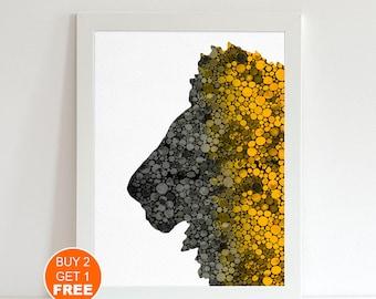 Lion 2 watercolor illustration art print, Lion art, home decor, wall art, animal illustration, animal art, Lion print, animal watercolor