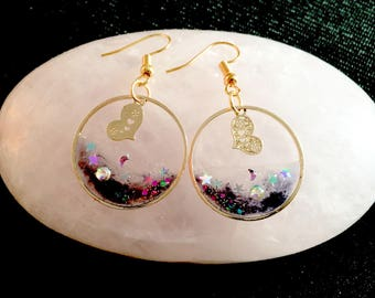 Earring resin live galaxy  blue jewelry  design
