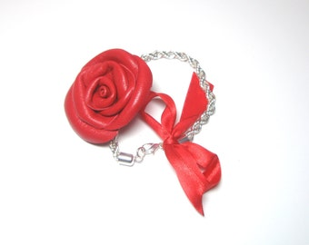 3rd anniversary gift - Red leather  Rose bracelet -   brown rose bracelet -Flower  bracelet - leather  Bracelet