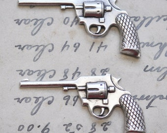 TWO Revolver gun brass stampings, Sterling Silver Finish, Gun Stampings, Silver Stampings, Rocker Jewelry, Jewelry Supplies, Southwestern