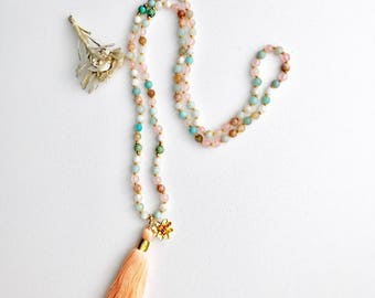 Mala Beads, Mala Necklace, Moonstone Mala, Turquoise Mala, Rose Quartz Mala, Amazonite Mala, Prayer Beads, Knotted Mala, Mala, Yoga, MTRA