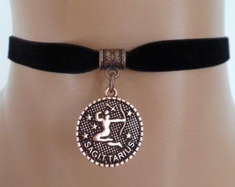 velvet choker, sagittarius choker, zodiac necklace, stretch ribbon, black velvet, copper tone